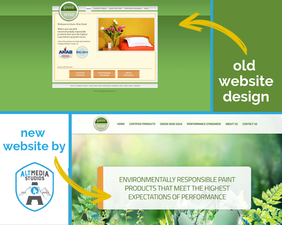 Green Wise's website before and after the rebuild and redesign by Alt Media Studios