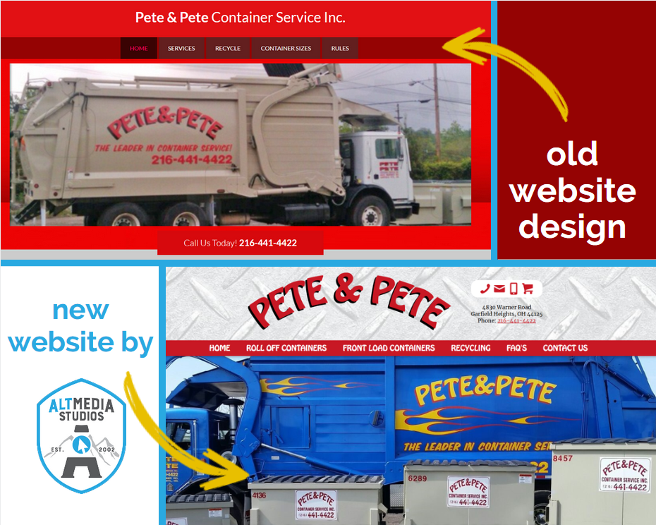 Before and After images of Pete and Pete's custom web design by Alt Media Studios
