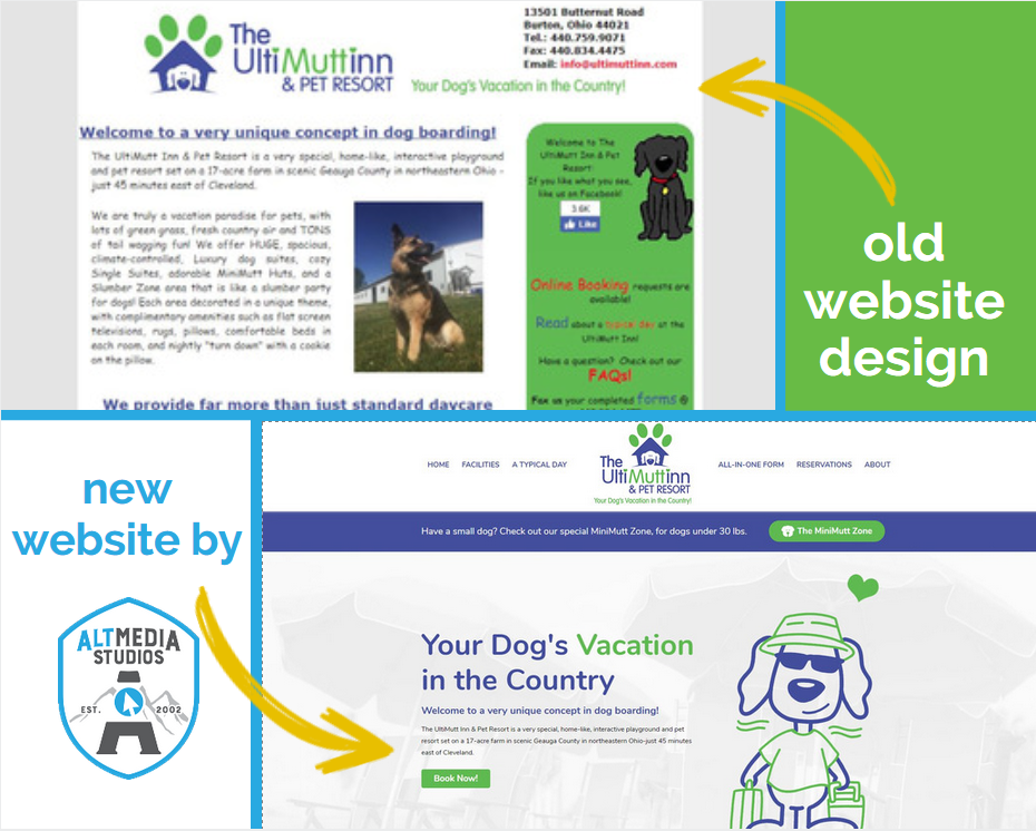 Before and After pictures of the custom website for Ultimutt Inn and Pet Resort, built by Alt Media Studios