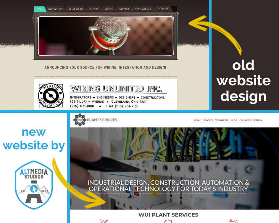 WUI's old website compared to their new custom web design by Alt Media Studios
